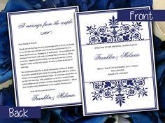 "Snowflake DIY Wedding Program Template - Ornate Border | Navy Blue Half Fold ""Regency"" Program | Custom Colors Available | Winter Wedding  by PaintTheDayDesigns, $10.00"