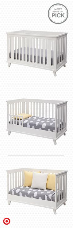 Versatile and modern, the Delta Children Ava 3-in-1 convertible crib adjusts with your growing child, transitioning from crib to toddler bed with rail to a daybed. In white, it has a clean, contemporary look that will look perfect in any nursery. It's easy as 1-2-3.