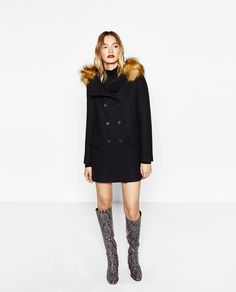 Image 1 of WOOL DUFFLE COAT WITH FAUX FUR HOOD from Zara
