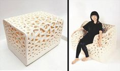 Breathing Chair  Modern foam chair becomes an armchair when someone sits down.