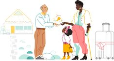 Host and guests (one with a prosthetic leg) illustrated People Illustration, Flat Illustration, Character Illustration, Illustration Example, Business Illustration, Graphic Design Trends, Ux Design, Flat Design, Airbnb Design