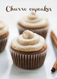Churro cupcakes recipe w/ cinnamon cream cheese frosting. Perfect dessert for Cinco De Mayo!