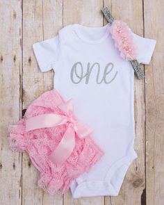 Pink and Silver First Birthday Outfit