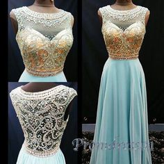 Luxury scoop neck beaded baby blue chiffon prom dress for teens, occasion dress, modest prom dress 2016 #coniefox #2016prom