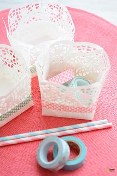 DIY baskets out of doilies / snack foods on tables