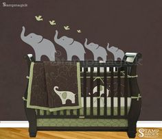 Elephant Nursery Wall Decal - children baby wall decal for nursery - 2 Colors - K027B on Etsy, $36.00