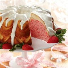 Strawberry Cream Cheese Ribbon Cake from Pillsbury® Baking Great Desserts, Delicious Desserts, Yummy Food, Elegant Desserts, Cake Recipes, Dessert Recipes, Sweet Recipes, Yummy Recipes, Cooking Recipes