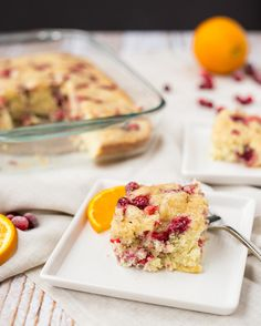 This cranberry coffee cake with orange and cardamom will fill your home with scents of the holidays. It's perfect for any day but I picture this making a Christmas brunch appearance. Get the recipe on RachelCooks.com! #sponsored by Wyman's of Maine