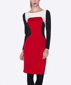 Love this Ecru & Burgundy Color Block Dress by Elfe on #zulily! #zulilyfinds