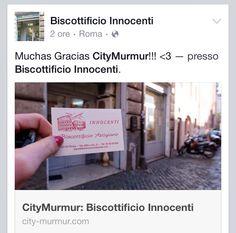 Gracias City Murmur!  Biscottificio Innocenti Roma Trastevere, Biscottificio Innocenti, Blog, Blogger, Forno, Grazie, Oven, Recensioni, Roma, Stefania Innocenti, Thank you, Thanks, Trastevere