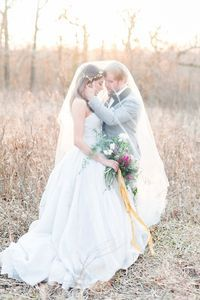 Winter wedding in a White by Vera Wang strapless ballgown