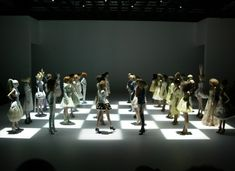 At the end of McQueen's spring/summer 2005 show, the models became human chess pieces, whose moves were directed by a disembodied computerised voice. As each 'piece' was knocked out of the game, the corresponding model left the stage: