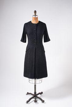 1940s Charcoal Gray Wool Dress