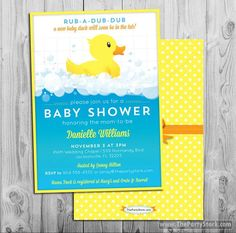 Rubber Duck Baby Shower Invitation by ThePartyStork on Etsy https://www.etsy.com/listing/197117242/rubber-duck-baby-shower-invitation