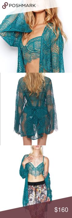For Love and Lemons Lace Dream Girl Robe New without tags, only tried on. Beautiful teal color. Dream Girl Robe in Jade. For Love And Lemons Intimates & Sleepwear Robes