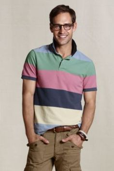 I like wearing a lot of color in the spring and summer; this polo provides plenty even with khaki pants or shorts. Also, the Nightshadow Blue Wide Stripe version (shown) manages a preppy retro look with feeling forced or fake.    Men's Heritage Striped Mesh Polo from Lands' End Canvas #landsendcanvas