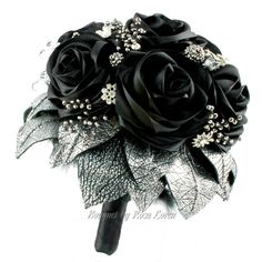 Black Bouquet, Silver Bouquet, Black Bridal Bouquet, Black Wedding... (450 CAD) ❤ liked on Polyvore featuring flowers, wedding, other, jewelry, accessories and filler