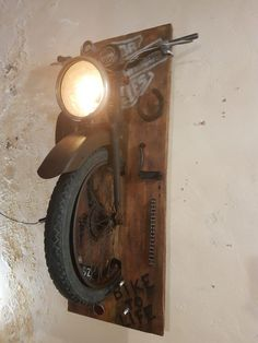 Amazing Wall Lamps Made with Recycled Motorbike Parts - iD L.- Amazing Wall Lamps Made with Recycled Motorbike Parts – iD Lights Amazing Wall Lamps Made with Recycled Motorbike Parts 2 – Wall Lamps & Sconces – iD Lights - Lampe Steampunk, Motorbike Parts, 125cc Motorbike, Motorbike Cake, Motorbike Girl, Wall Lights, Wall Lamps, Automotive Decor, Automotive Furniture
