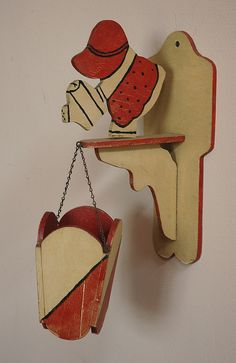 1930s Crackle Finish CutOut Painted Wood Hanging by CityDifferent, $35.00