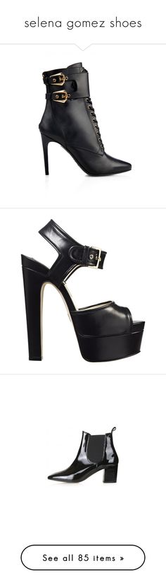 """""""selena gomez shoes"""" by gomezrevivals ❤ liked on Polyvore featuring shoes, boots, ankle booties, ankle boots, balmain, heels, black, black buckle booties, black booties and black lace-up boots"""