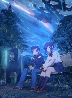 Anime picture kimi no na wa miyamizu mitsuha tachibana taki fangxiang cuoluan tall image blush short hair blue eyes black hair multiple girls brown eyes sitting sky cloud (clouds) night couple girl male uniform school uniform 500138 en Manga Anime, Film Anime, Art Manga, Kimi No Na Wa, Fan Art Anime, Anime Love, Mitsuha And Taki, Humour Geek, The Garden Of Words