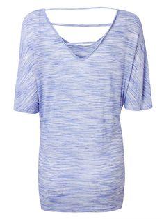 Loose Casual Women Short Sleeve Backless Color Stripe T-shirt - Banggood Mobile