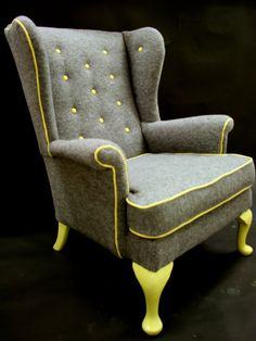 Cedrick Wing back arm chair in grey boiled wool by katepritchard, . such a fun chair Reupholstery, Upholstered Furniture, Furniture Upholstery, Chair, Furniture Inspiration, Armchair, Upholstery, Cool Chairs, Upholstered Chairs