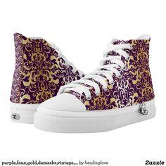 purple,faux,gold,damasks,vintage,antique,floral,pa printed shoes
