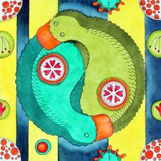 DAY #251- YIN YANG PLATYPUS  365 Day Art & Creativity Challenge www.becreativemary.com by Mary Ercoli Walsh
