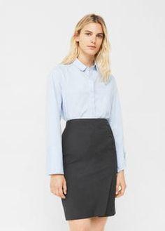 Buttoned midi skirt
