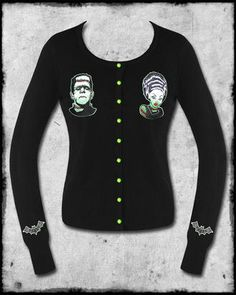 Awesome black Rockabilly/Psychobilly/Horrorpunk inspired knitted cardigan by Banned Clothing. Highly stretchy button-up lightweight sweater with ribbed knit waistband and cuffs, with plenty of give for a perfect, versatile and comfortable fit. Featuring vivid green buttons and embroidered Frankenstein appliques to both sides of the front, complete with green & black embroidered bat emblems to the sleeves!