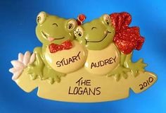 Personalized Frog Couple Christmas Ornament  image