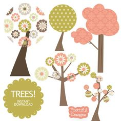 Clip Art Tree Retro Clipart Commercial Use by PrettifulDesigns, $3.00