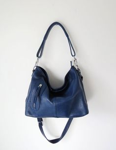 8be9ebf3ae Navy leather handbag navy leather shoulder bag by Adeleshop Hobo Crossbody  Bag