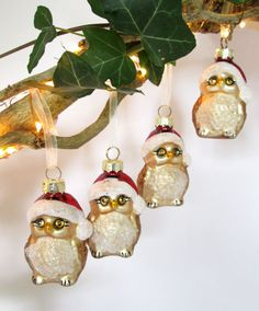 A boxed set of four little glass owls, each with a chiffon ribbon for hanging on the Christmas tree. Christmas Owls, Christmas Decorations, Christmas Ornaments, Holiday Decor, Santa Hat, Jewel Tones, Clear Glass, Hats, Shop