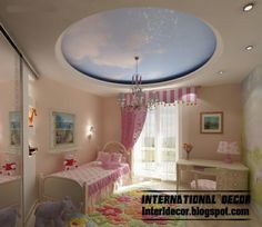 cool and modern false ceiling design for kids room interior - false gypsum ceiling