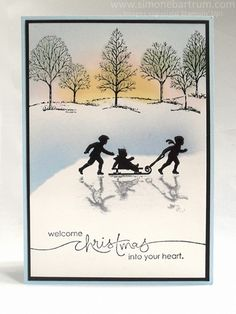 handmade winter card ... Stampin up's Welcome Christmas & Lovely As A Tree... beautiful sponged sky ... silhouette with shadow in the snow ... great card!