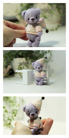 Crochet Teddy Bear Pattern, Crochet Animal Amigurumi, Crochet Amigurumi Free Patterns, Knitted Animals, Crochet Animal Patterns, Crochet Bear, Stuffed Animal Patterns, Crochet Projects, Knitting Toys