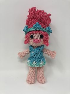 Poppy Troll Rubber Band Figure, Rainbow Loom Loomigurumi, Rainbow Loom Character Rainbow Loom Disney, Rainbow Loom Bands, Rainbow Loom Charms, Rainbow Loom Bracelets, Rainbow Loom Patterns, Rainbow Loom Creations, Butterfly Dragon, Monarch Butterfly, Rainbow Loom Characters