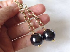 Vintage 70s Mad Man Gold Extra Long Chain and Black Pearls