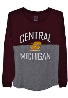 6c5bc3857 Central Michigan Chippewas Womens Maroon Sideline Jersey LS Tee - 16170093