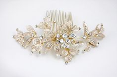 Bridal Comb of Champagne Gold and Rhinestones