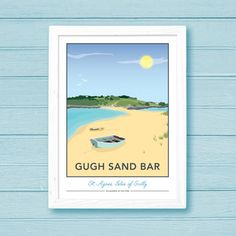 Gugh Sand Bar, St. Agnes, Isles of Scilly Print by Tabitha Mary  £16.00–£105.00  This print depicts the sandy beach on Gugh looking towards the bar and St. Agnes. Similar to the view you'd have if you were sat at the Turks Head Pub enjoying a cold beer! Access is only available at low tide. I am inspired by the old railway posters, my prints are now available as digital prints, signed Giclee prints both with an option of framing.