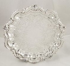"""ANTIQUE SILVER PLATED 9"""" SALVER/TRAY - c1880 in Antiques, Silver, Silver Plate 