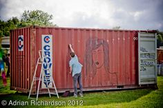 Street Art created using electrical tape on a shipping container via Ady_rian on Flickr