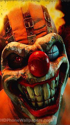 Needles Kane aka Sweet Tooth from Twisted Metal Le Joker Batman, Joker Art, Freaky Clowns, Evil Clowns, Funny Clowns, Art Harley Davidson, Evil Clown Tattoos, Insane Clown, Joker Wallpapers