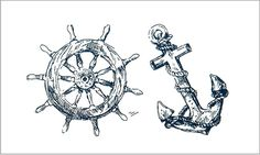 Classic Black Pirate Anchor With Ship Wheel Tattoo Design Ship Wheel Tattoo, Mermaid Tattoo Designs, Temporary Tattoo, Anchors, Arrows, Pirates, Feathers, Body Art, Posters
