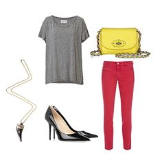 Nothing feels cooler than a perfect-fit tee done up with the right ingredients: a pair of classic pointed-toe pumps, a bit of statement jewelry, and a cool pop of color to complement your bottoms.