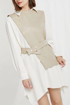 Knox Pleather Vest and Dress Set Hijab Fashion, Korean Fashion, Fashion Dresses, Maxi Dresses, Kleidung Design, Mode Kpop, Coat Dress, Dress Set, Dress Shirts For Women