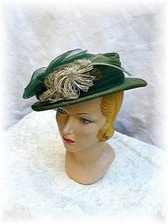 1930s Hat 30s Green Tilt Hat..1930's 30's Great Trim Original Vintage.